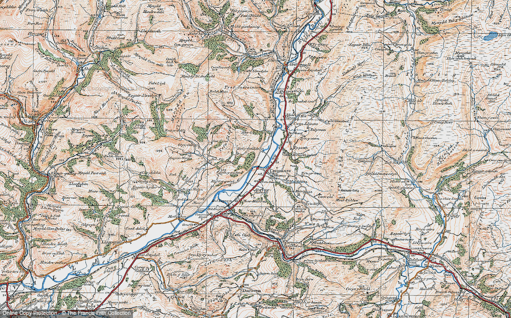 Old Map of Historic Map covering Aberhiriaeth in 1921