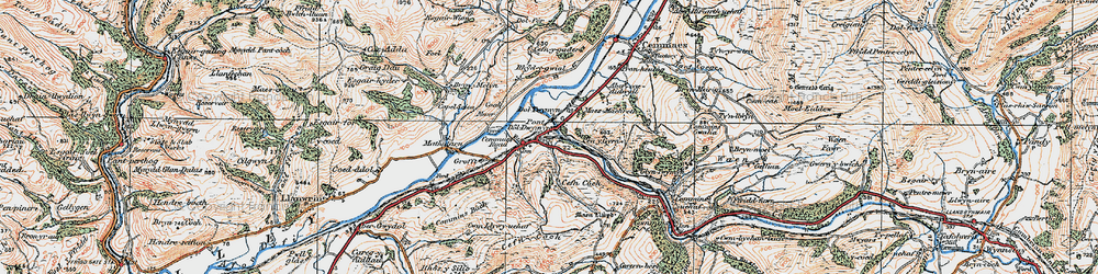 Old map of Cemmaes Road in 1921