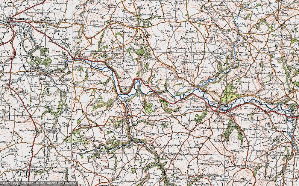 Old Map of Cenarth, 1923 in 1923