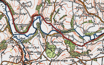 Old map of Cenarth in 1923