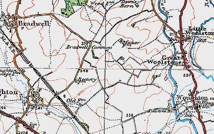 Old map of Central Milton Keynes in 1919