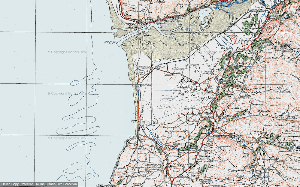 Old Map of Historic Map covering Afon Leri in 1922