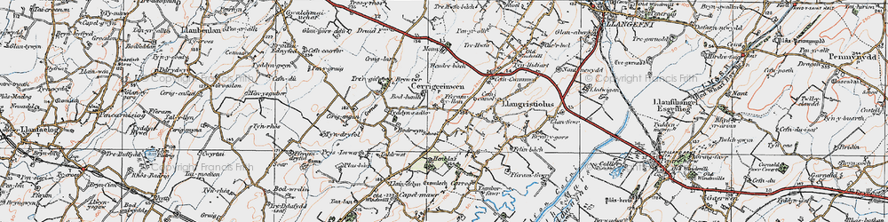 Old map of Afon Gwna in 1922