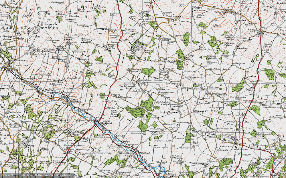 Old Map of Chaddleworth, 1919 in 1919
