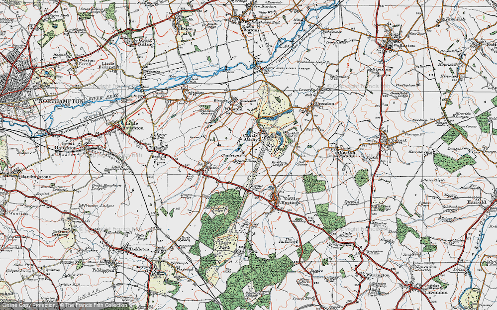 Old Map of Historic Map covering Avenue Lodges in 1919