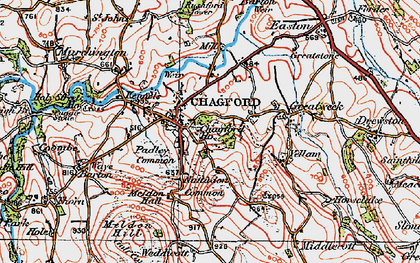 Old map of Chagford in 1919