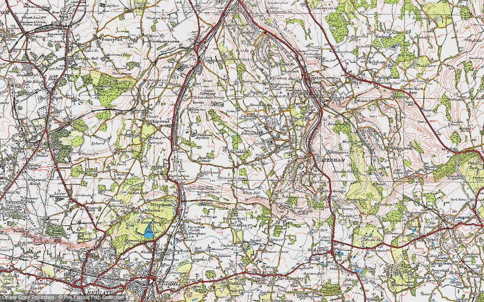 Old Map of Historic Map covering Alderstead Heath in 1920