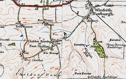 Old map of Winfrith Hill in 1919