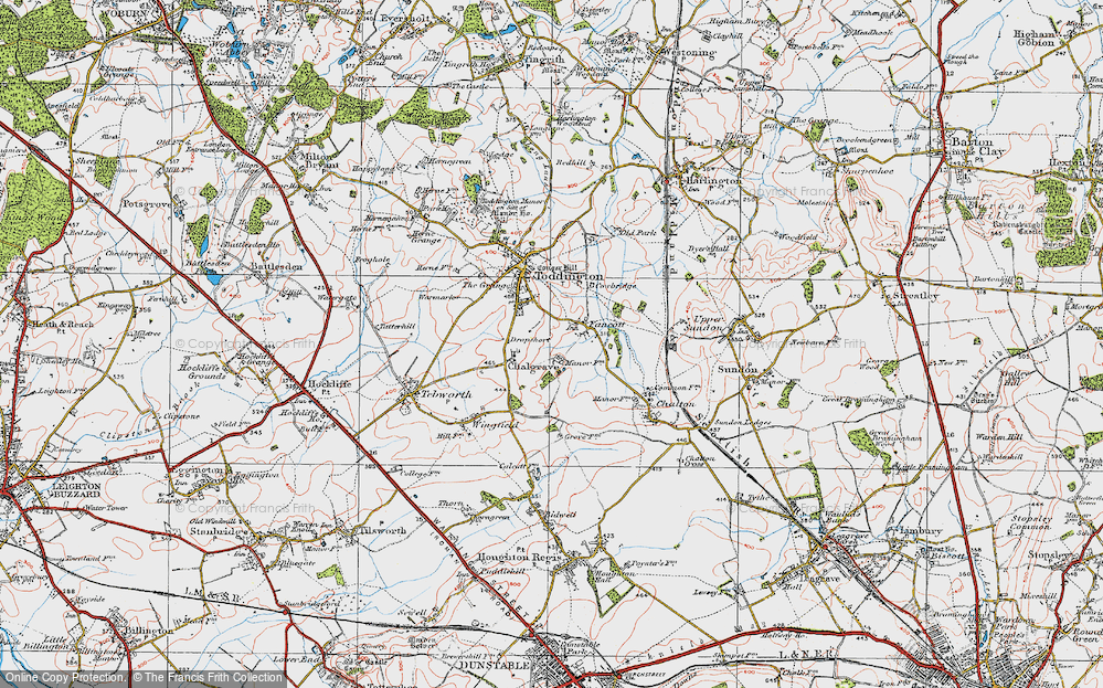 Old Map of Historic Map covering Toddington Service Area in 1919