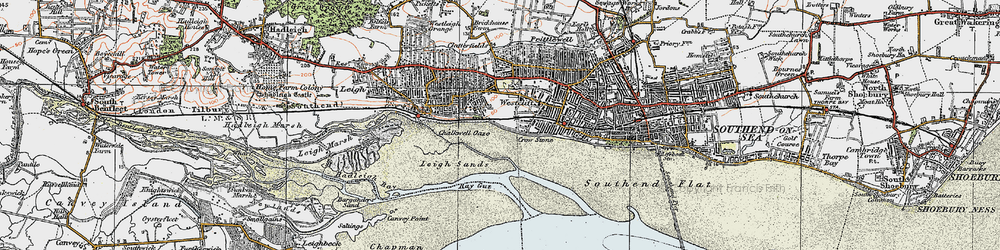 Old map of Leigh Sand in 1921