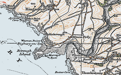 Old map of Challaborough in 1919