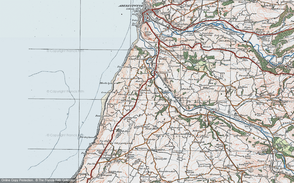 Old Map of Historic Map covering Abermad in 1922