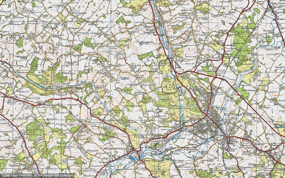 Old Map of Historic Map covering Lees Wood in 1920
