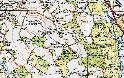 Old map of Chandler's Cross in 1920