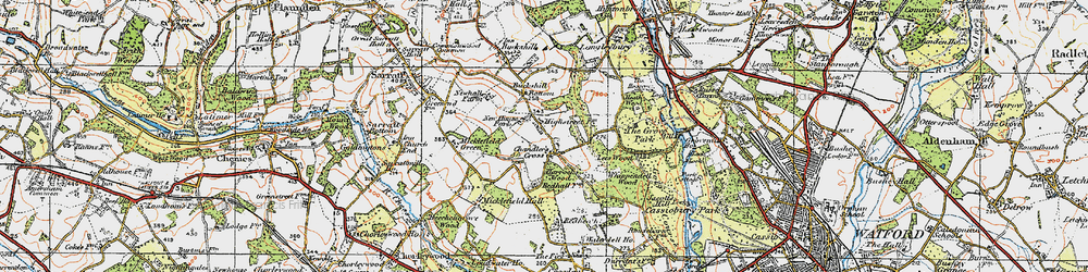 Old map of Whippendell Wood in 1920