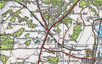 Old map of Chandler's Ford in 1919