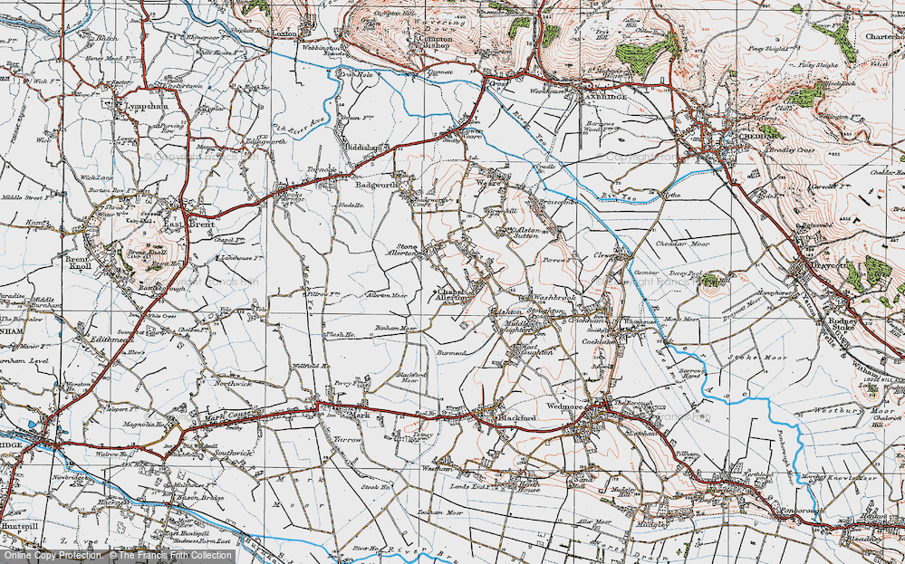 Old Map of Historic Map covering Allerton Moor in 1919