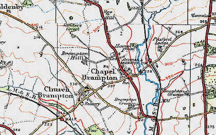 Old map of Chapel Brampton in 1919