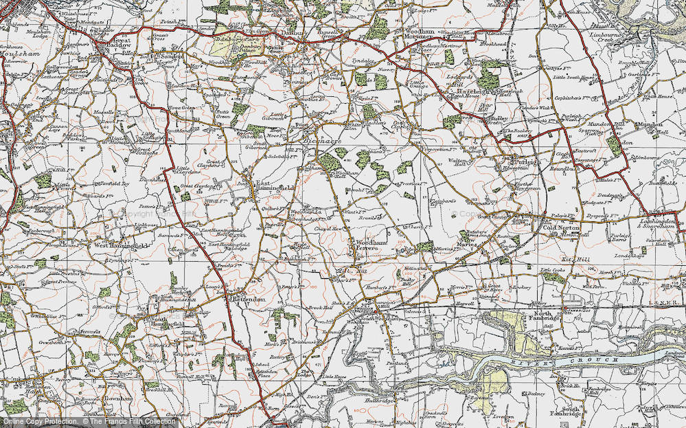 Old Map of Historic Map covering Woodham Lodge in 1921