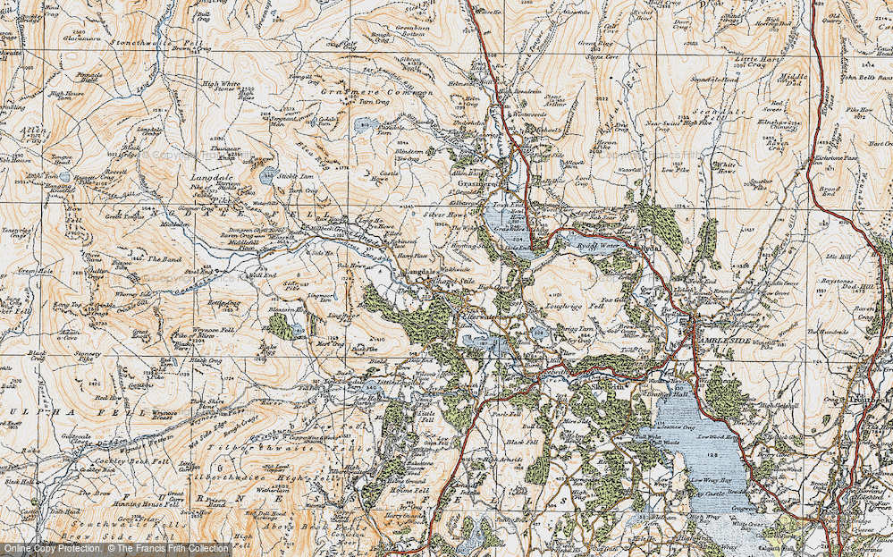 Old Map of Historic Map covering Lang How in 1925