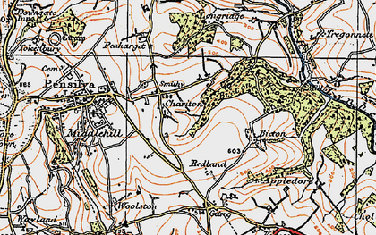 Old map of Charaton Cross in 1919