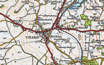 Old map of Chard in 1919