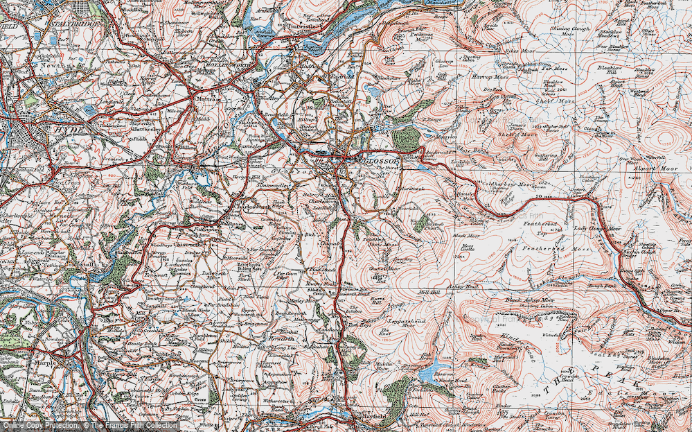 Old Map of Historic Map covering Whiteley Nab in 1923