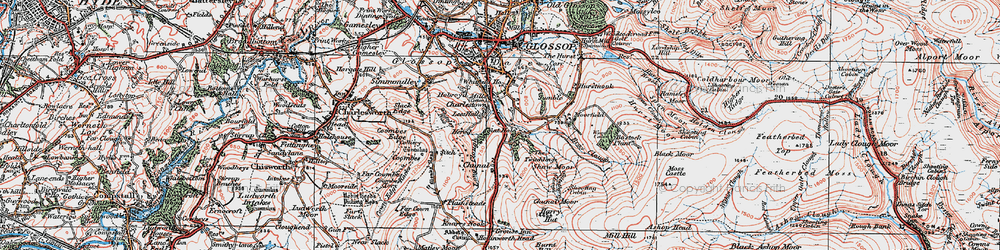 Old map of Whiteley Nab in 1923
