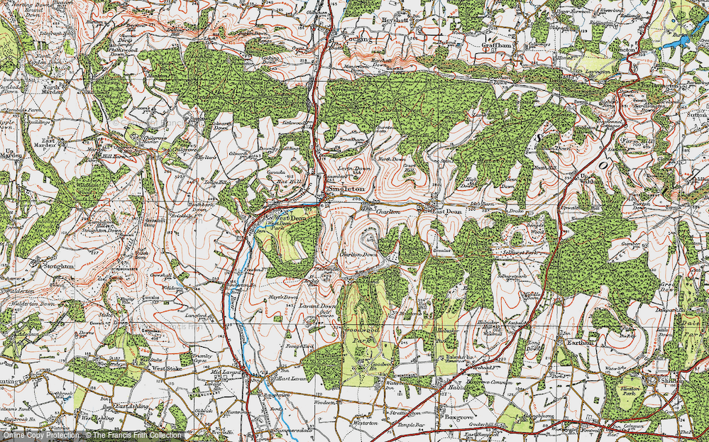 Old Map of Historic Map covering Levin Down in 1919