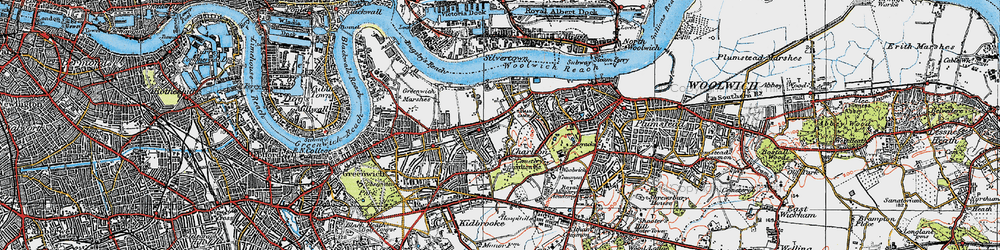 Old map of Woolwich Common in 1920