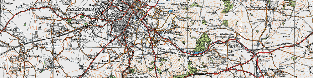 Old map of Charlton Kings in 1919