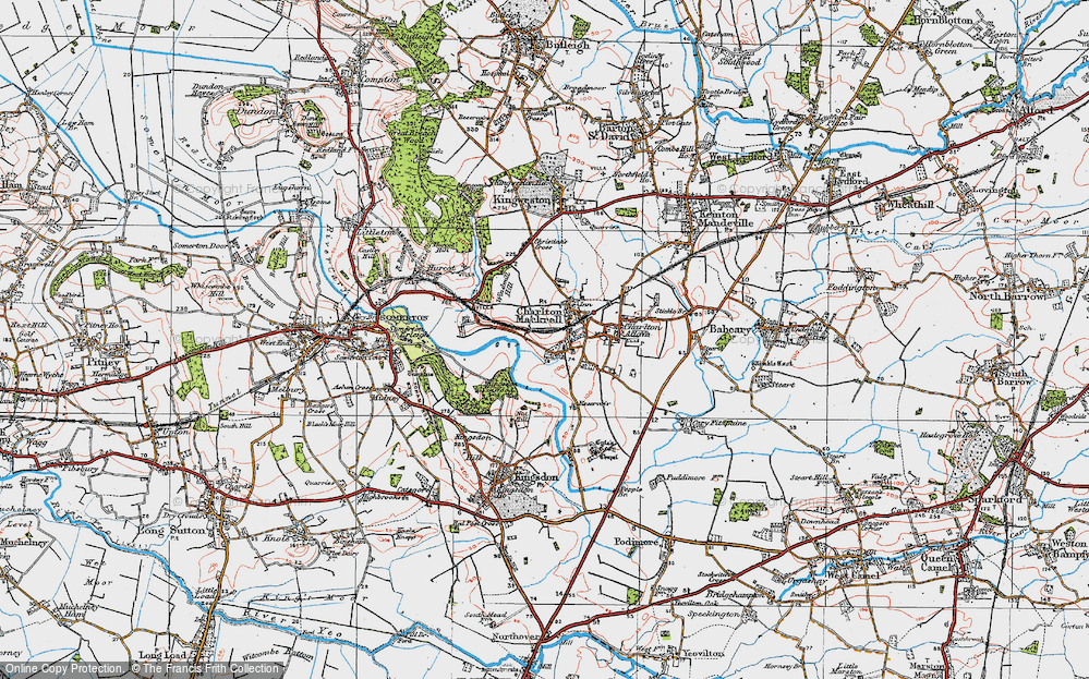 Old Map of Charlton Mackrell, 1919 in 1919