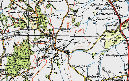 Old map of Charlwood in 1920