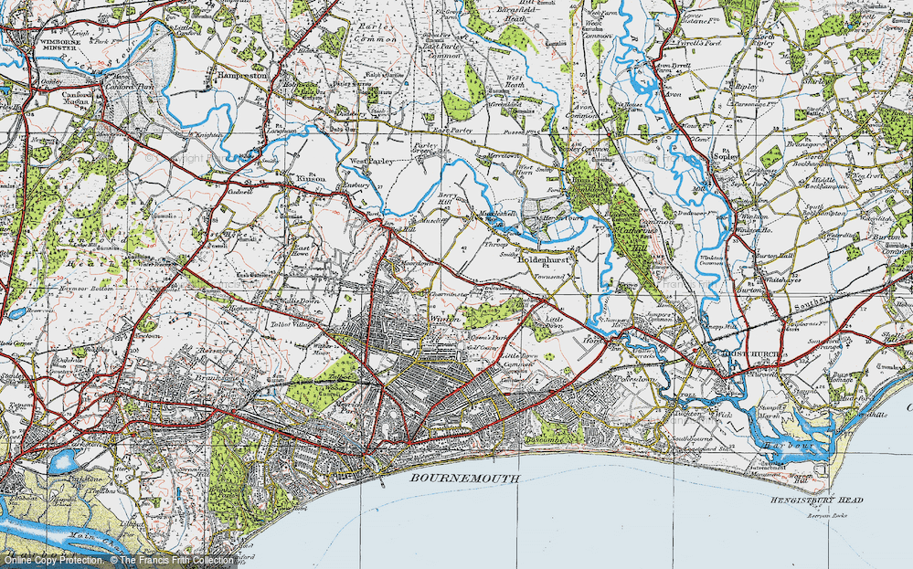 Old Map of Historic Map covering Bournemouth in 1919