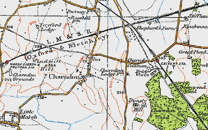 Old map of Charndon in 1919