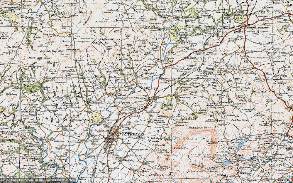 Old Map of Chatburn, 1924 in 1924