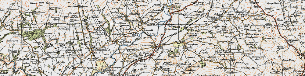Old map of Chatburn in 1924