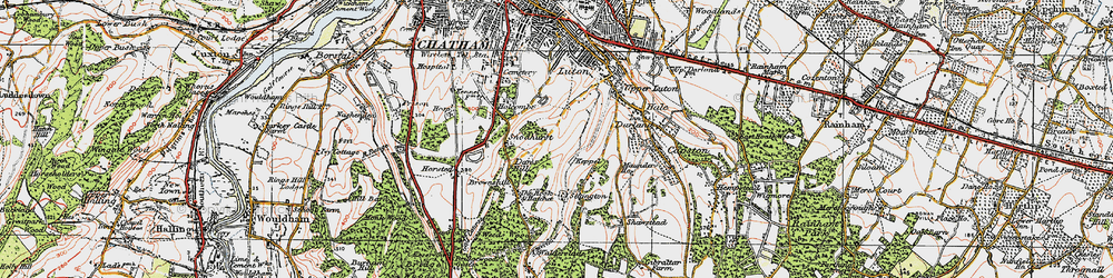 Old map of Chatham in 1921