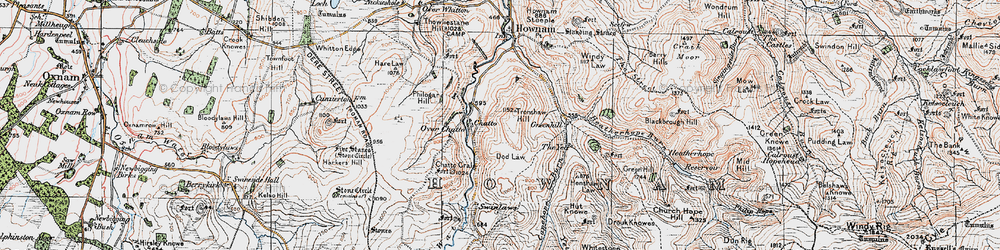 Old map of Yett, The in 1926