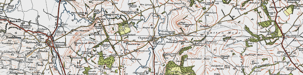 Old map of Chatton in 1926