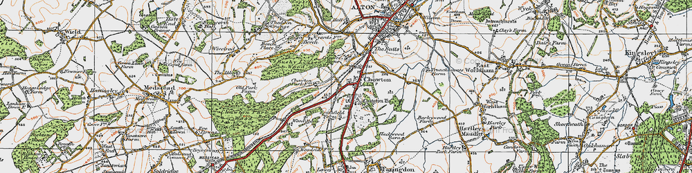 Old map of Chawton in 1919