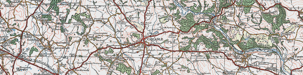 Old map of Cheadle in 1921
