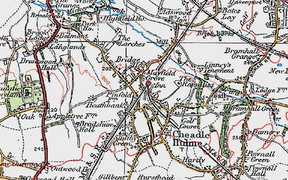 Old map of Cheadle Hulme in 1923