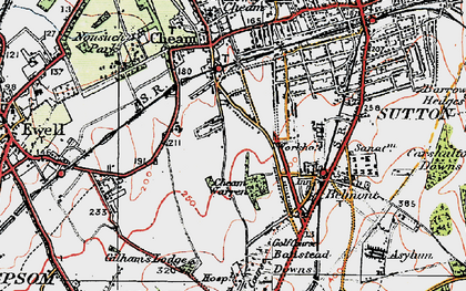 Old map of Cheam in 1920