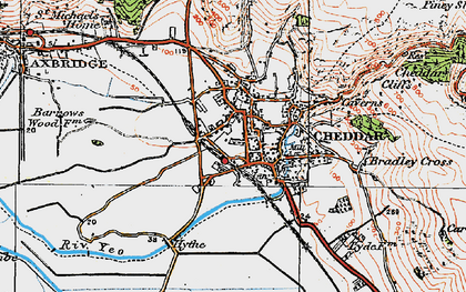 Old map of Cheddar in 1919