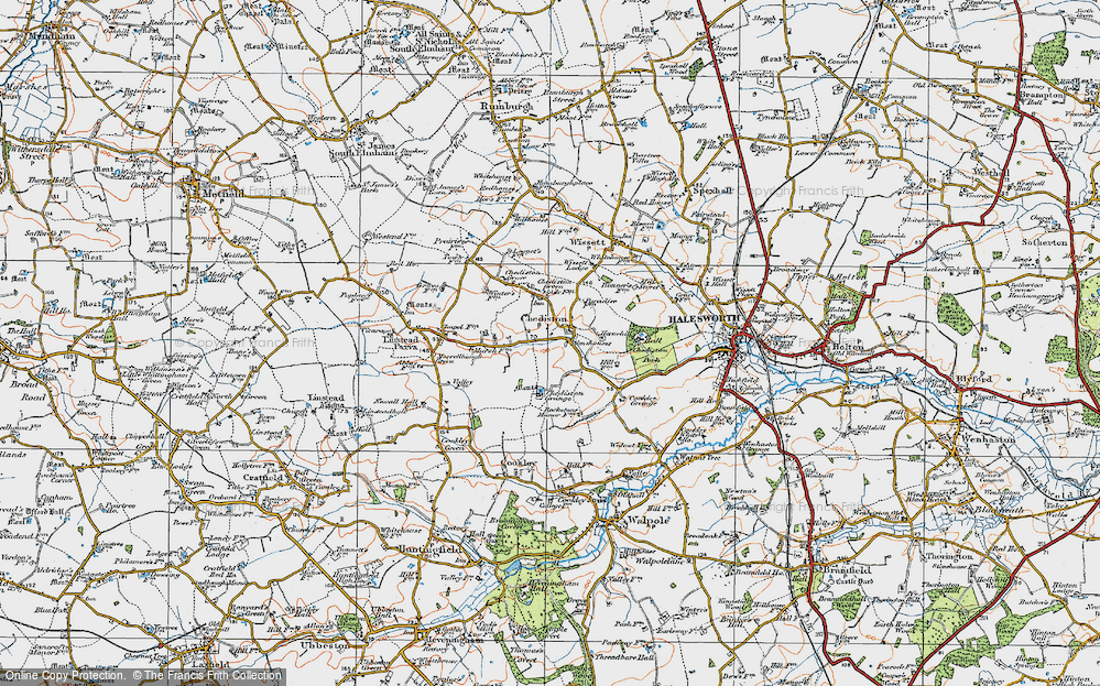 Old Map of Historic Map covering Linstead Parva in 1921