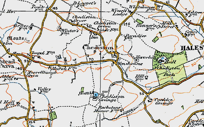 Old map of Linstead Parva in 1921