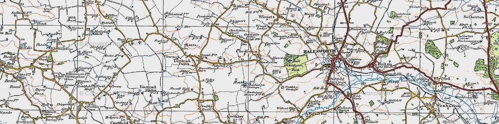 Old map of Linstead Parva in 1921