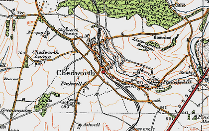 Old map of Chedworth in 1919