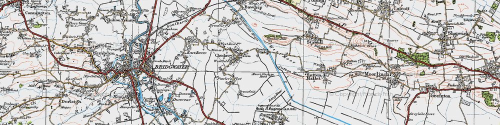 Old map of Chedzoy in 1919
